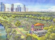 Rendering of Eleanor Tinsely Park's event meadow during an event.