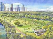 Rendering of Eleanor Tinsely Park's event meadow during daily use.
