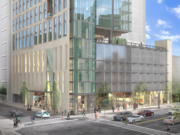 A street-level rendering of a new tower that Lennar plans to build at 1640 Broadway in Oakland.