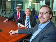 Robert Antsey, right, CEO of Graphenix Development Inc. has one of three Buffalo companies that received venture capital from Buffalo Capital Partners. Members of that investment group include Brian Lipke, middle, of Gibraltar Industries, and Scott Friedman, left, of Lippes Mathias Wexler Friedman.