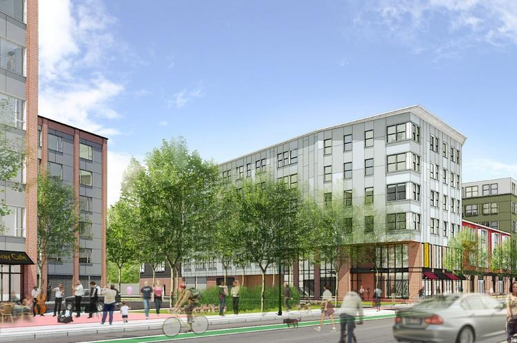 One of two apartment projects that could transform the Forest Hills area of Jamaica Plain.