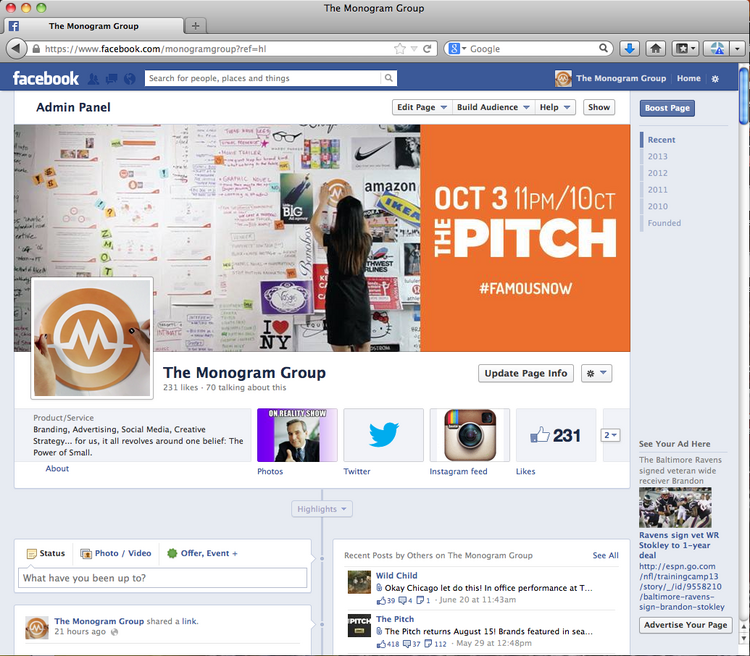 """The Monogram Group in Chicago has launched a new Facebook page look in advance of """"The Pitch's"""" season debut on Thursday."""