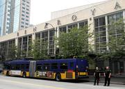 Crime scene on Third Avenue in front of Benaroya Hall in downtown Seattle, where the driver of a Metro bus was shot Monday morning.