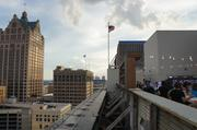 The rooftop offers great views of neighboring buildings.