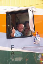 Orlando Mayor Buddy Dyer and FDOT District 5 Secretary Noranne Downs enjoy the view from inside the SunRail cab car.