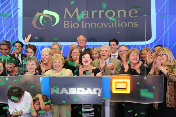 Marrone Bio Innovations rang the opening bell at the Nasdaq stock market on Monday. The company recently began trading as a public company. Here, CEO Pam Marrone celebrations after the bell.
