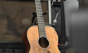 Willie Nelson's Guitar 'Trigger' before his performance.