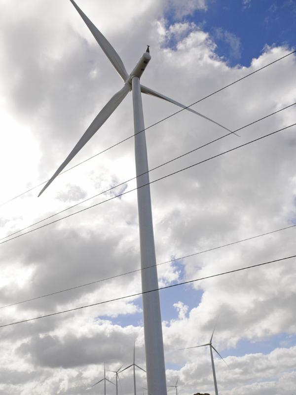 Work is nearing completion on the $13 million Lalamilo Wind Farm in South Kohala on the Big Island, which will power the County of Hawaii's Department of Water Supply. File photo of a wind turbine.