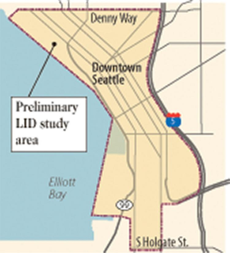 Nearly all of downtown Seattle is part of the preliminary study area for a Local Improvement District to pay for waterfront work. But properties closer to the water — and thereby deriving more benefit from the work — would likely pay more.