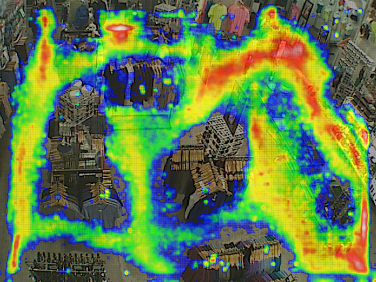 Heat maps from RetailNext show at a glance shoppers' paths of travel within a store.