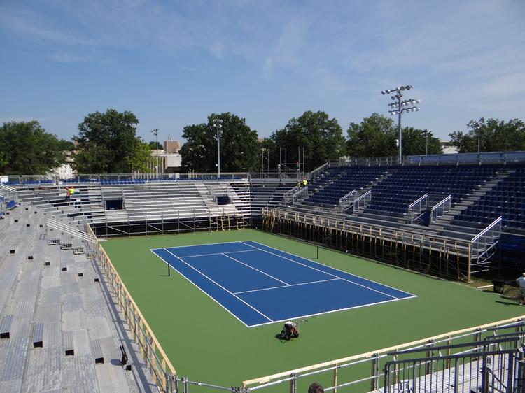 """Center court at the Winston-Salem Open, which is ringed by a new stadium from Nussli that offers more of a """"bowl"""" feel."""