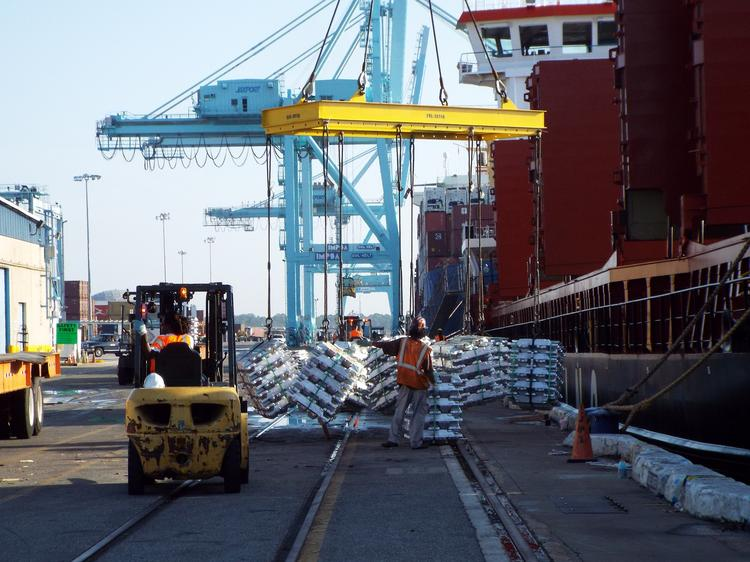 Keystone Industries will build a $4.5 million intermodal logistics center, which will transfer bulk and break-bulk commodities between ship, rail, and truck.Workers from Seaonus unloaded Jaxport's largest break-bulk shipment of aluminum ingots of in years last week at the Talleyrand terminal.