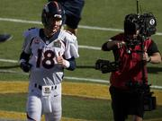 Manning warms up before Super Bowl 50 at Levi's Stadium.