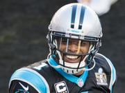 Carolina Panthers quarterback Cam Newton smiles at fans in the crowd before Super Bowl 50 at Levi's Stadium.