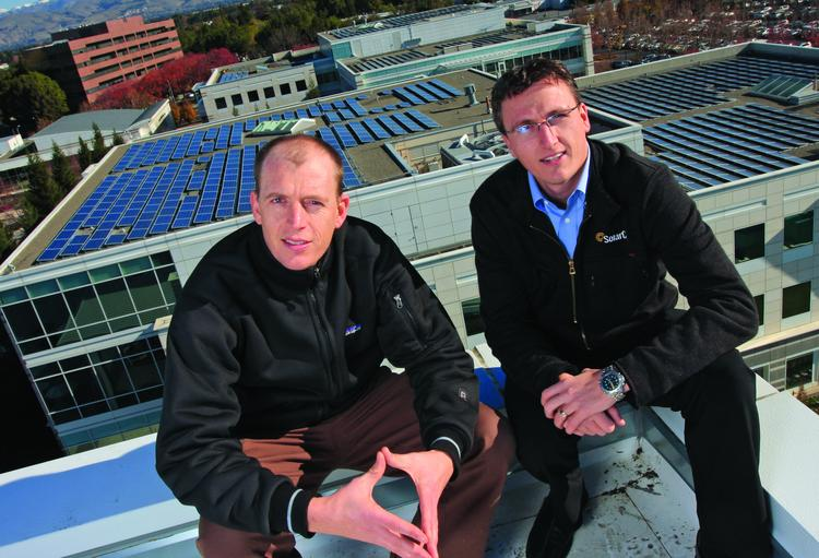 File photo of Solar City co-founders Pete Rive (left) and CEO Lyndon Rive.