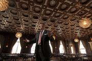 Philip Spiegel, Director of Hospitality for the newly-refurbished Merchants Exchange Club, shows off the Julia Morgan Ballroom.