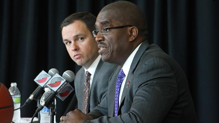 Chris McGowan (left, with Moda's Dr. William Johnson), said that very far down the road, an athletic director's job might be in the cards for him. For now, he's intent on making the Trail Blazers profitable.