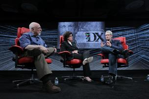 Tim Cook, chief executive officer of Apple Inc., right, speaks with Walt Mossberg, left, and Kara Swisher at the 2012 D: All Things Digital Conference in Rancho Palos Verdes.