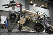 An iRobot Corp. 310 small unmanned ground vehicle (SUGV).