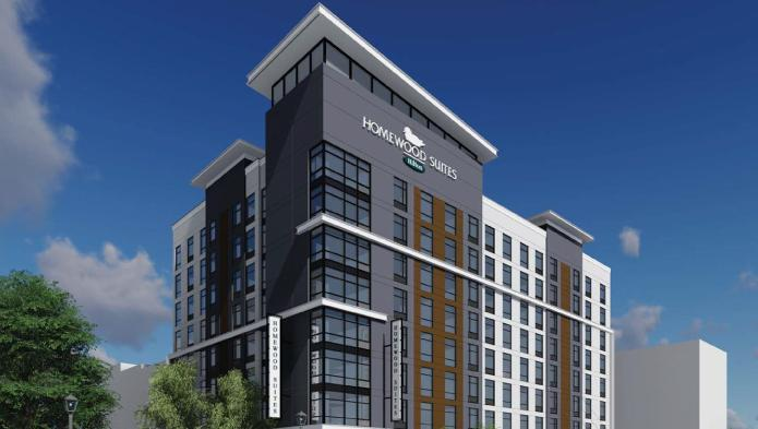 A rendering of the planned Homewood Suites at Seventh and Market streets.