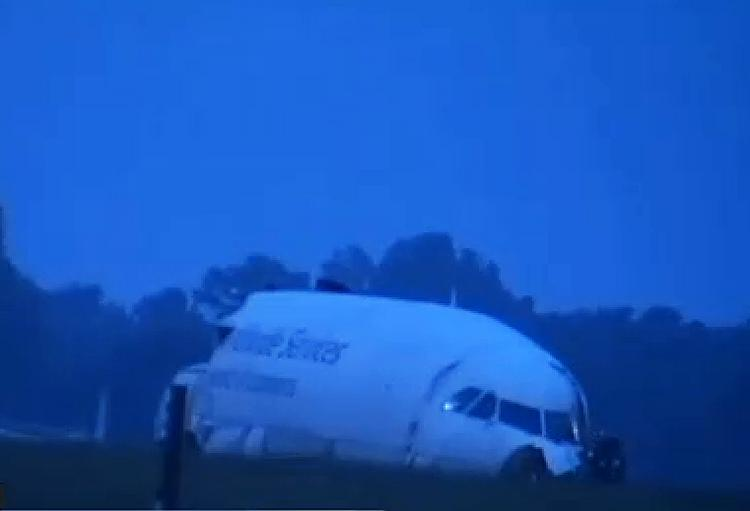 The nose of the UPS plane that crashed in Birmingham was separated from the fuselage.