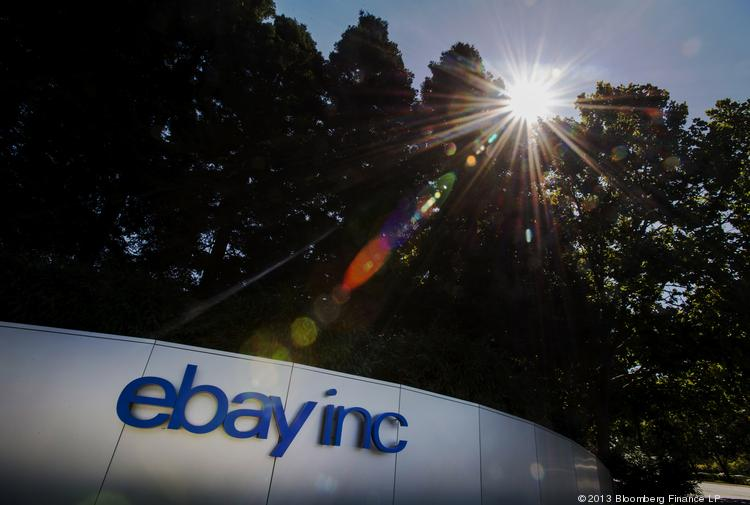 EBay Inc. signage is displayed outside the company's north campus in San Jose, Calif., on Tuesday. EBay sales rose 20.4 percent in July versus 17.7 percent in June.