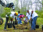 """Alabama Power Corporate Citizen category  10-word philosophy on community service: Within our company we call it being """"100 percent connected.""""  What it means is: Together, we can do more.  Click here to read their profile   Caption: Alabama Power Co. Volunteers work at Five Mile Creek."""