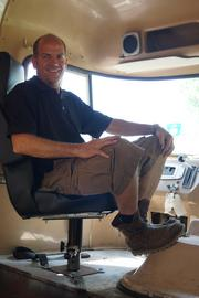 Chameleon Concessions CEO Mark Palm sits inside his unfinished model truck, which he'll use to demonstrate his company's capabilities.