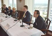 The Critical Conversation panelists: Ralph Swanson of PNC Bank, Jeffrey Kramer of accounting firm Goldstein Schechter Koch, Maureen Shea of Right Management, Jim Repp of AvMed Health Plans and Stephen Spiegel, a Cold Stone Creamery franchisee.