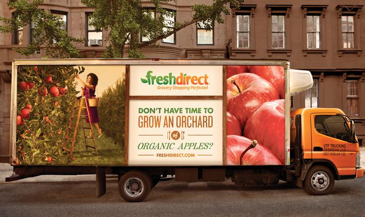 FreshDirect delivers groceries that customers have ordered online.
