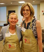 The recent Baker Donelson Women's Initiative event, Paint, Drink and Be Merry, brought together 40 women from more than 20 area companies to explore their creative sides and network.  From left: Karen Austin, LP, and Carolyn Schott, Baker Donelson