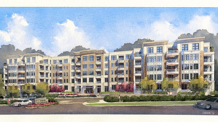 An artist's rendering of the proposed 186-unit 2600 Glenwood apartment community at the intersection of Oberlin Road in Raleigh.
