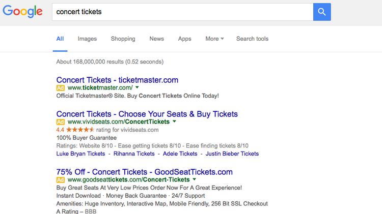 Google's new search results page shows four ads above organic results instead of on the right sidebar.
