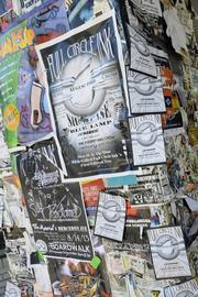 Concert posters are still plastered on the post in front of The Beat's former home at 1700 J St.
