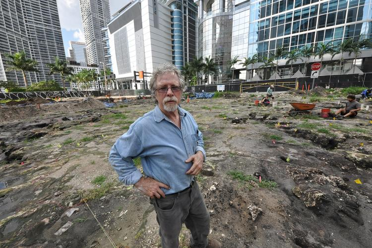 Bob Carr at the onetime site of a Tequesta Indian village in what is now downtown Miami. Carr is executive director of the Archaeological and Historical Conservancy, which has been looking at the Met Miami site since 2005.