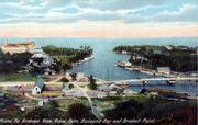 A vintage post card shows the Royal Palm hotel on the left and a modest bridge over the Miami River.