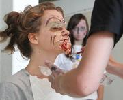 The school brought in a professional makeup artist to help the teachers prepare for the preparedness exercise.