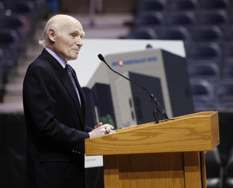 Now-retired U.S. Sen. Herb Kohl speaks at the May 2012 announcement that BMO Harris Bank had signed on for naming rights at the Bradley Center.