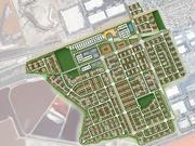 A rendering showing plans for the 205-acre Dumbarton Transit Oriented Development. The Gateway Station West project is located on 41 acres in the southwest of this site.