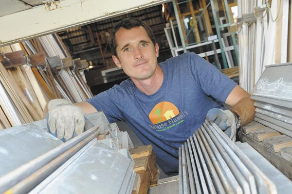 Re-use Hawaii co-founder Quinn Vittum has a variety of construction products to sell out of his Kakaako warehouse, the result of having buildings deconstructed instead of demolished.