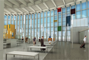 Inside, the Terminal East Infill project will add a connection from the east ticket lobby to the concourse at gate five. The new area features a few colored accents and floor to ceiling windows.