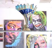 Sculptures and pop culture-inspired art are among the display pieces at Jai Gallery.