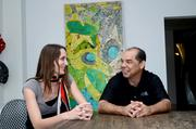 Jai Gallery director Coralie Claeysen-Gleyzon meets with gallery owner Dennis Liddy.
