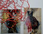 Wire art shares space with paintings in Jai Gallery's collection.