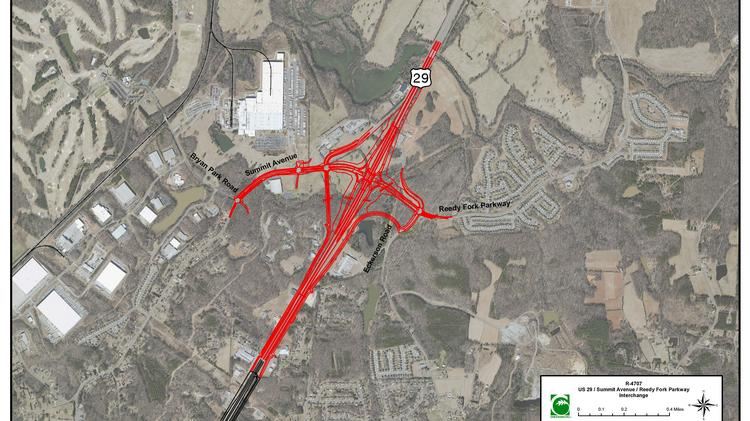 Pictured here is a graphic showing a new interchange which will improve access to the Reedy Fork area. The interchange project at US 29 and Reedy Fork and associated improvements along Summit Drive will begin in 2024 and cost $45 million.