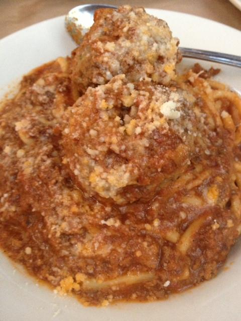 Chef Boudet's signature spaghetti and meatballs at Dominick's.