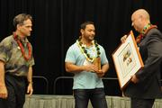 From left, Brandt Farias of First Hawaiian Bank, Lubuw Falanruw of ActivityRez, and Pacific Business News Publisher Bob Charlet. Falanruw's company was No. 1 on PBN's Hawaii's Fastest 50 list.