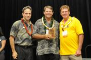 From left, Brandt Farias of First Hawaiian Bank poses with Jeffrey Muller and Daniel Donohue of Acoustical Drywall Systems Inc., which was No. 3 on PBN's Hawaii's Fastest 50 list.