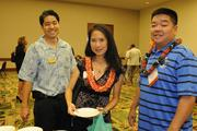 From left, Kyle Kato of First Hawaiian Bank and Julie and Terrance Wong of Tee's Electrical and Maintenance at the reception prior to PBN's Hawaii's Fastest 50 event.