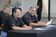 From left, Barry Lookand Cajo Cabato of Hawaiian Telcom welcomed attendees to the Pacific Business news Small Business Growth Expo at the Hawaii Convention Center.
